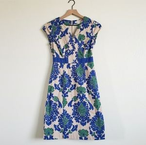Boden Blue and Cream Floral Designed Mini Dress